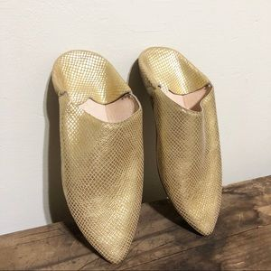 Moroccan babouche slip on gold mules